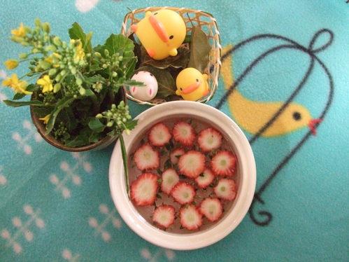 イチゴで梅の花(?)